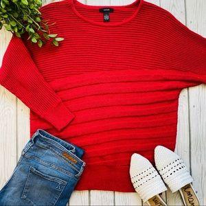 Alfani Metallic Red Ribbed Metallic Knit Sweater